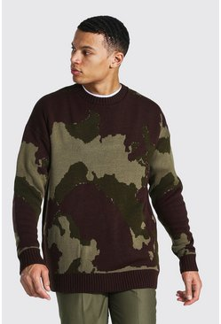 Khaki Tall Abstract Camo Oversized Knitted Jumper