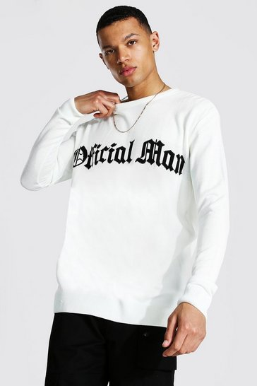 Ecru white Tall Oversized Man Official Crew Neck Jumper