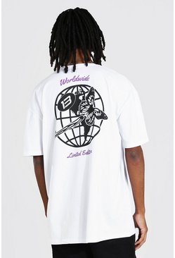 White Tall Worldwide T-shirt With Back Print