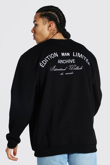 Black Tall Edition Oversized Embroidered Sweater