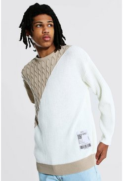 Ecru white Tall Man Spliced Jumper With Woven Label