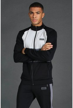Black Man Active Funnel Neck Zip Through Track Top
