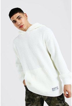 Cream white Man Oversized Fisherman Knitted Hoodie