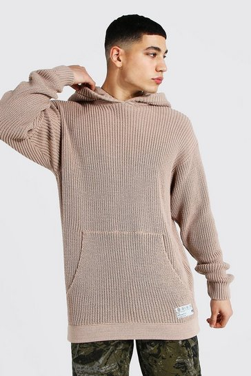 Taupe beige Man Oversized Fisherman Knitted Hoodie
