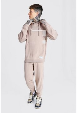 Taupe beige Man Knitted Hoodie & Jogger Tracksuit
