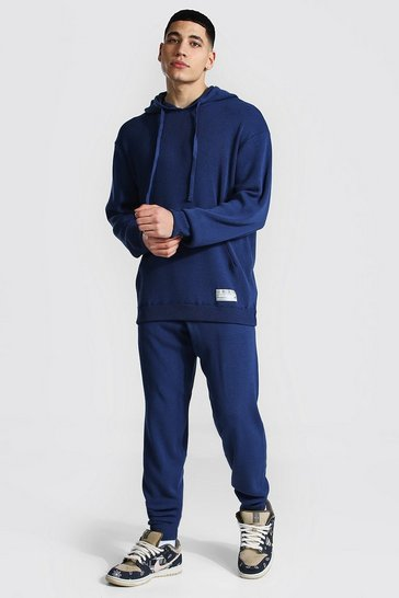 Steel grey Man Knitted Hoodie & Jogger Tracksuit