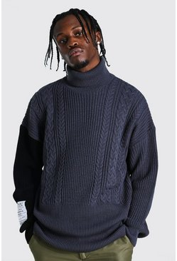 Charcoal grey Man Roll Neck Cable Jumper With Woven Label