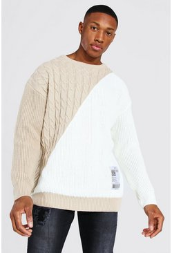 Ecru white Man Cable Spliced Jumper With Woven Label