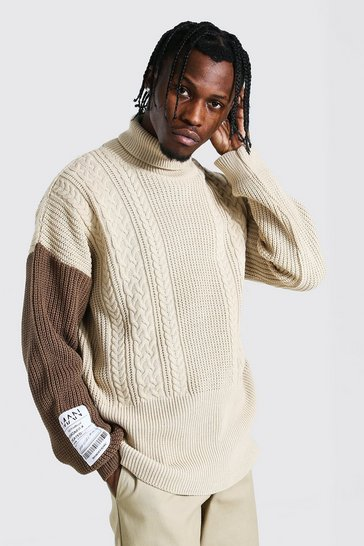 Beige Man Roll Neck Cable Jumper With Woven Label