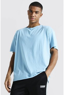 Light blue blue Oversized Short Sleeve Raw Hem T-shirt
