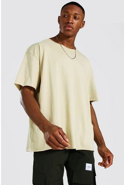 Sand beige Oversized Short Sleeve Raw Hem T-shirt