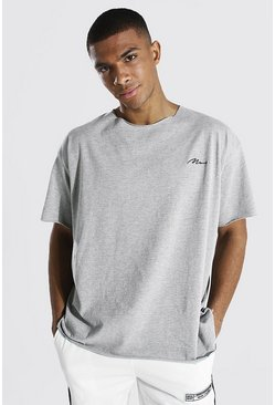 Grey marl grey Oversized Man Signature Raw Hem T-shirt