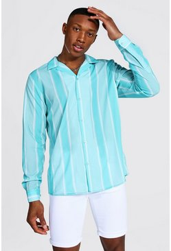 Mint green Long Sleeve Striped Shirt