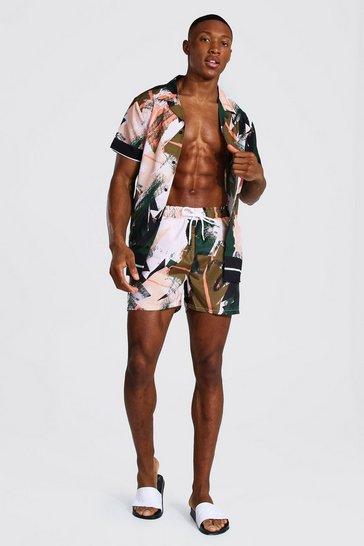 Khaki Short Sleeve Revere Abstract Shirt And Swim