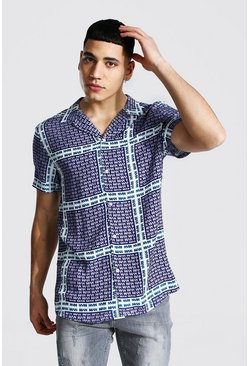 Navy Short Sleeve Revere Man Print Viscose Shirt