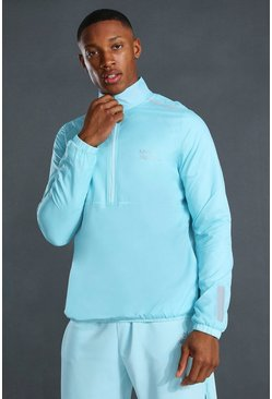 Light blue blue Man Active Translucent 1/2 Zip Running Jacket