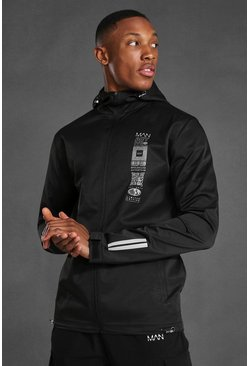 Black Man Active Graphic Running Windbreaker