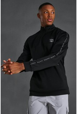 Black Man Active Taped 1/4 Zip Funnel Neck Top