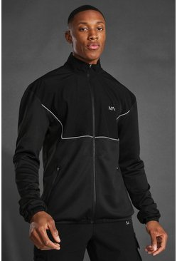 Black Man Active Running Funnel Neck Zip Up Jacket