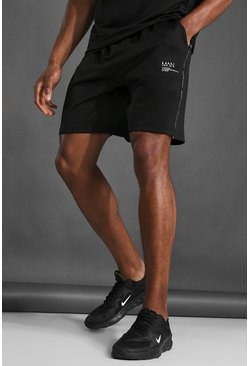Black Man Active Taped Shorts