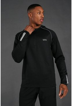 Black Man Active 1/4 Zip Over The Head Hoodie