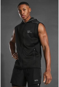 Black Man Active Hooded Gilet