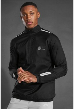 Black Man Active Translucent 1/2 Zip Running Jacket