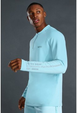 Light blue blue Man Active Raglan Crew Neck Zip Top