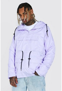 Lilac purple Lightweight Overhead Multi Pocket Parka
