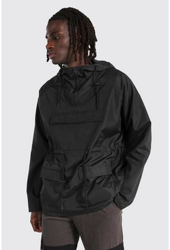 Black Lightweight Overhead Multi Pocket Parka