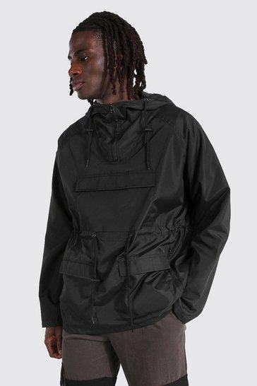 Black Lightweight Overhead Multi Pocket Parka