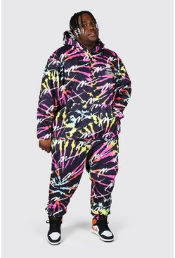Multi Plus All Over Man Tie Dye Hooded Tracksuit