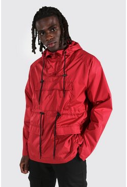 Red Lightweight Overhead Multi Pocket Parka