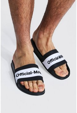 Black Man Official Slippers Met Contrasterend Paneel