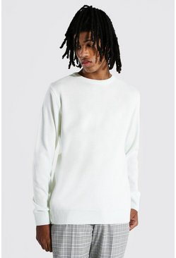 Cream white Tall Basic Crew Neck Jumper