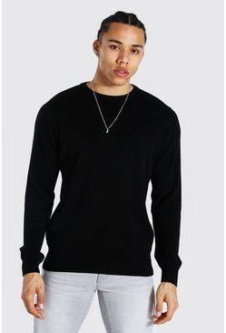 Black Tall Basic Crew Neck Jumper