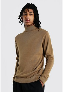 Camel beige Tall Roll Neck Jumper