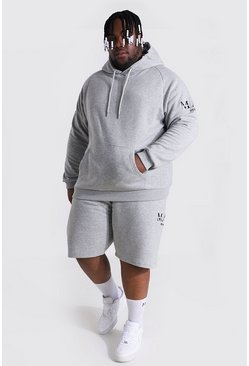 Grey marl grey Plus Man Roman Sleeve Print Short Tracksuit