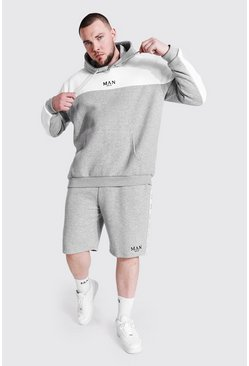 Grey marl grey Plus Man Tape Colour Block Short Tracksuit
