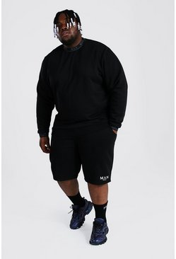 Black Plus Man Roman Short Tracksuit With Man Rib