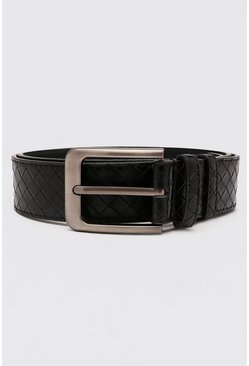 Black Smart Weave Belt With Rounded Edge Buckle
