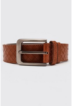 Tan brown Smart Weave Belt With Rounded Edge Buckle