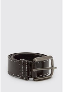 Dark brown brown Smart Belt With Contrast Stitch Detail