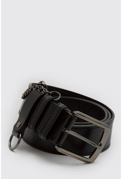 Black Smart Belt With Key Ring And Chain
