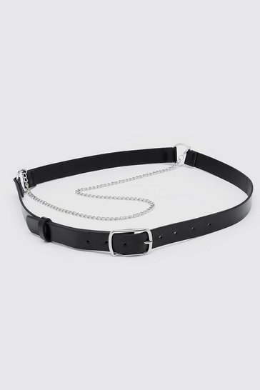 Black Pu Harness Belt With Chain Detail