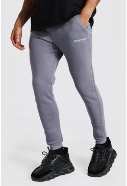 Charcoal grey Skinny Man Official Double Waistband Joggers