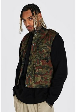 Camo 4 Pocket Twill Utility Vest