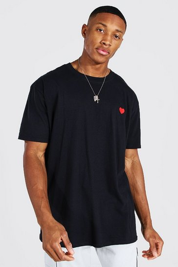 Black Heart Embroidered T-shirt