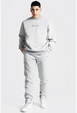 Grey marl grey Oversized Man Extended Neck Sweater Tracksuit