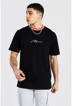 Black Man Signature Sports Rib Neck T-shirt